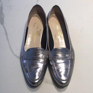 Ferragamo boutique silver loafer. Super cute!